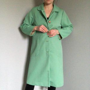 1970's turquoise green collared coat with faux pea